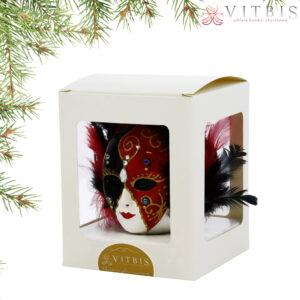Maska wenecka czarno-czerwona. 1szt/ok.10cm