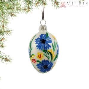 Pisanka szklana: Niebieski kwiat. 1szt/7cm