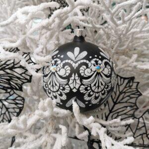 Biały ornament. 10cm/4szt