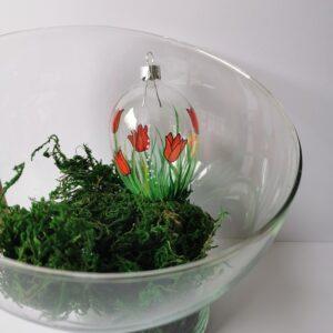 Jajko w czerwone tulipanki. 8cm/1szt