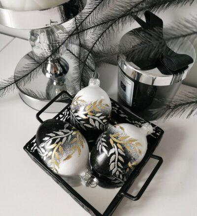 Jajko biało-czarne z gałązkami.6cm/1szt