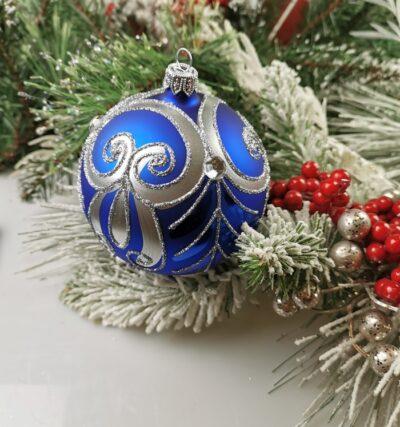 Srebrny ornament na kobaltcie. 10cm/4szt.
