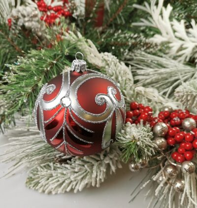 Srebrny ornament na bordzie. 10cm/4szt.