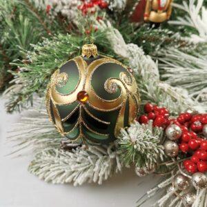 Złoty ornament na zieleni. 10cm/4szt.