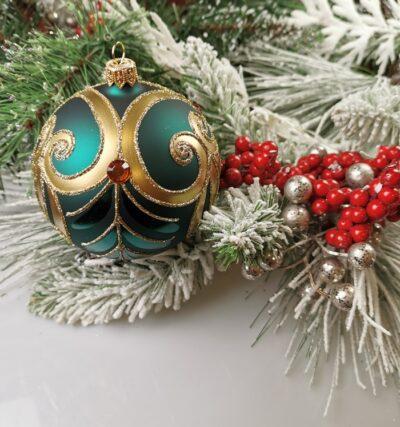 Złoty ornament na butelkowej zieleni. 10cm/4szt.